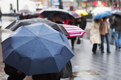 Rainy day in the city. People in the city are walking with umbrellas while it is heavy raining Stock Photography