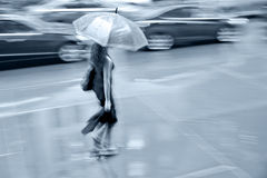 Rainy day in the city on motion blur Stock Photos