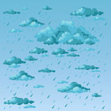 Rainy day. Clouds and rain. Rainy day. Clouds and raindrops. Vector illustration Stock Image