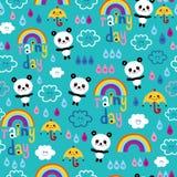 Rainy day clouds rainbows umbrellas raindrops panda bears pattern. Rainy day clouds rainbows umbrellas raindrops panda bears seamless pattern Royalty Free Stock Images