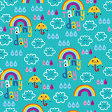 Rainy day clouds rainbows umbrellas raindrops sky seamless pattern Stock Photography