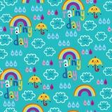 Rainy day clouds rainbows umbrellas raindrops sky seamless pattern. Rainy day clouds rainbows umbrellas and raindrops sky seamless pattern Stock Photography