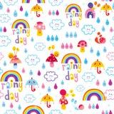 Rainy day clouds rainbows umbrellas raindrops snails kids seamless pattern. Design Royalty Free Stock Photo