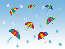 Rainy day. Colorful umbrellas and rain drops Royalty Free Stock Photography