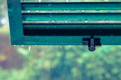 Rainy day concept with rain outside, window view. Royalty Free Stock Images