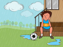 Rainy Day concept with sad boy. Illustration of a sad little boy with soccer ball in a rainy day on nature background Royalty Free Stock Photography