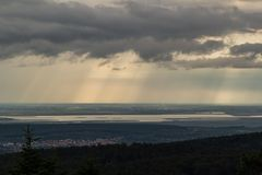 View from a lookout tower to the Lake Fertő with a part of the town Sopron in Hungary royalty free stock photo