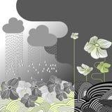 Rainy Day Flowers. Gray Rainy Day Flowers. Vector Illuatration Stock Photography