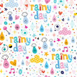 Rainy day fun characters seamless pattern Royalty Free Stock Image