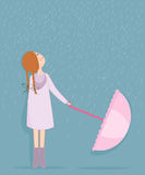 Rainy day, girl with umbrella vector Royalty Free Stock Photo