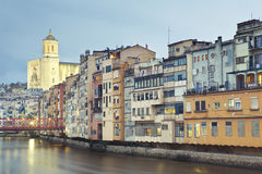 Rainy day in Girona Stock Images