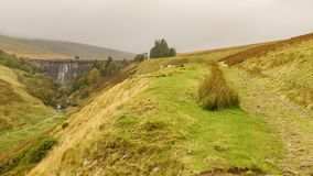 A rainy day at the Grwyne Fawr Reservoir, Powys, Wales, UK. A walk towards the Grwyne Fawr Reservoir in the Brecon Beacons National Park, Powys, Wales, UK Royalty Free Stock Photo