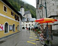 Rainy day in Hallstatt Stock Photo