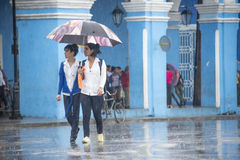 Rainy Day in the Historic District, Sancti Spiritus,Cuba Royalty Free Stock Images