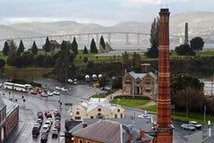 Rainy day in Hobart, Tasmania. Australia. Unique views of old gasworks tower, the Domain, Tasman Bridge and the eastern shore Royalty Free Stock Image
