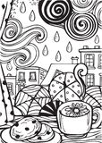 Rainy Day But I Love It Line Art and Outline Illustration. For many purpose such as adult coloring book, print on card, stationery, paper, bag, purse, clothes vector illustration