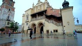 Rainy day in Krakow, Poland stock video
