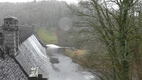 Rainy day at Lake Vrynwy, Wales - the dam stock video