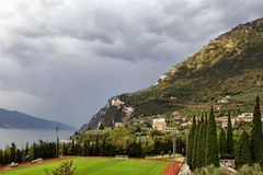Rainy day in Limone Stock Photography