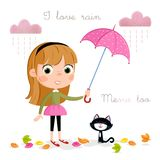 Rainy day - little girl with pink umbrella and autumn leaves. Cute cartoon character of a little girl with umbrella - background theme and other - jpg file - 300 Stock Images