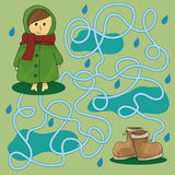 Rainy day maze for kids Stock Images