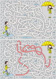 Rainy day maze. For kids with a solution Stock Photography