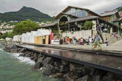 Rainy day on Motreaux Riviera at Geneva Lake, with famous Freddy Mercury statue Royalty Free Stock Photo