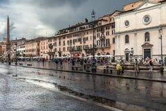 Rainy Day Navona Square Royalty Free Stock Photography