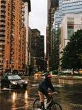 New York City, Columbus circle, USA. Rainy day in New York Royalty Free Stock Photos