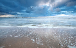 Rainy day on North sea coast. North Holland, Netherlands royalty free stock photography