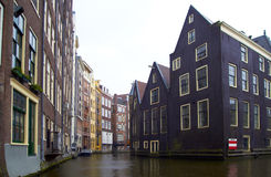 Rainy day one of canal in Amsterdam Stock Photos