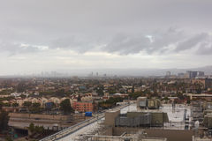 Rainy day over Los Angeles skyline Royalty Free Stock Photography
