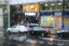 Rainy day in Paris. France. Paris. A view of the city through the car window on a rainy day royalty free stock photos