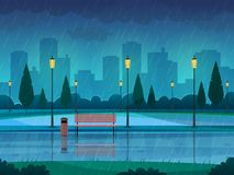Rainy day park. Raining public park rain city nature season path bench street lamp landscape, flat vector background. Rainy day park. Raining public park rain royalty free illustration