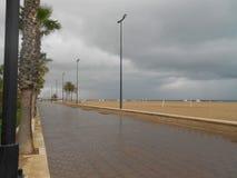 Rainy day. Playa Malvarrosa Valencia Spain Stock Image