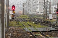 Rainy day at the  railway station Royalty Free Stock Photo