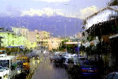 Rainy day from the road. Rainy last summer day in Albania from the road In soft view and mood royalty free stock images