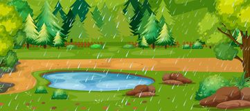 Rainy day scene with pond in the park. Illustration Stock Photo