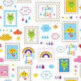 Rainy day seamless pattern Royalty Free Stock Photography