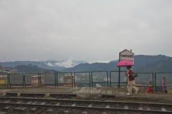 Rainy day Shimla train station Stock Photo