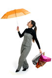 Rainy day of shopping Stock Image