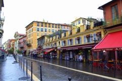 Rainy day street,Nice,France Royalty Free Stock Images