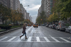 Rainy day street scene at Park Avenue New York City Stock Photography