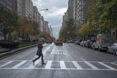 Rainy day street scene at Park Avenue New York City Stock Photography