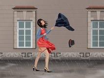 Rainy Day On The Street. Vector Girl With Broken Umbrella On the Street In Windy Rainy Day Stock Photos
