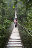 Rainy day suspension bridge walk Royalty Free Stock Image