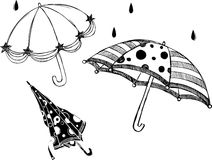 Rainy Day Umbrellas. Illustration of rainy day umbrella design elements isolated on white background Stock Photography