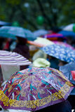 Rainy day umbrellas stock images