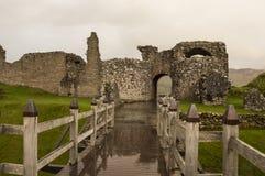 Rainy day at the Urquhart Castle. Small bridge to the Urquhart Castle on a rainy day Stock Image