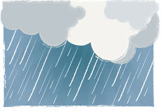 Rainy day vector. Illustration of raining clouds and dark sky + vector eps file royalty free illustration